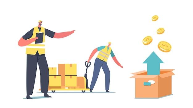 Персонаж рабочего в единой ручной тележке привода с стеком картонных коробок и стрелкой вверх. воздушные грузоперевозки, логистическая концепция хранения