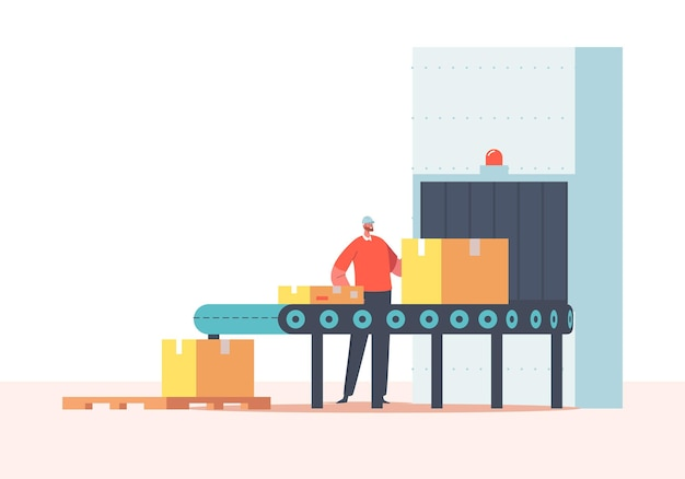 Worker character packing cargo on conveyor belt with cardboard boxes. factory, plant, warehouse with automated production line. parcels, goods, product in carton packages. cartoon vector illustration