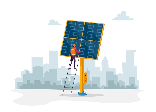Worker character stand on ladder near solar panel on cityscape background