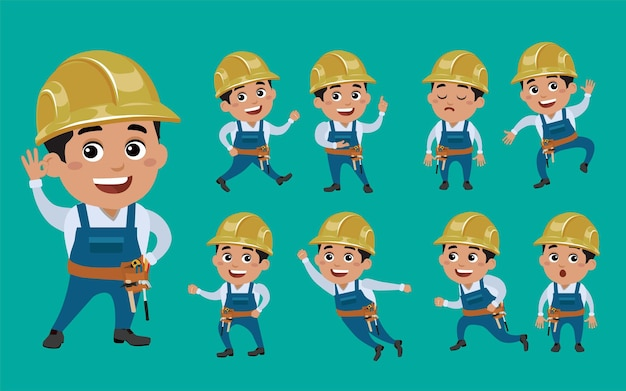 Worker characters in different emotion