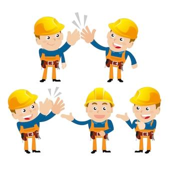 さまざまなポーズの労働者のキャラクター。