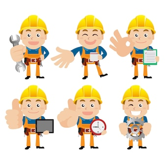 Worker characters with different poses.