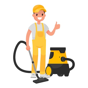 Worker of  cleaning service. a man dressed in a uniform with a vacuum cleaner.