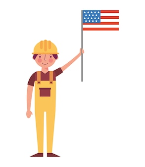 労働者の建設アメリカの旗労働日