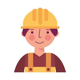 黄色の全体的な肖像画の労働者の建設