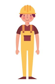 Worker contruction in yellow overalls vector illustration