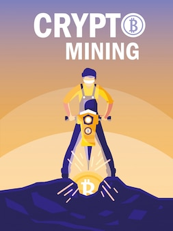 Worker crypto mining bitcoins