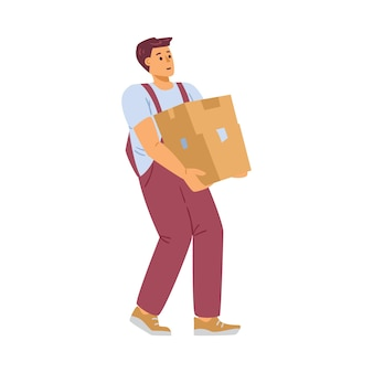Worker of delivery company carry heavy cardboard box a vector illustration