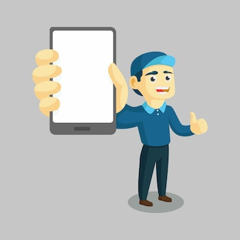 A worker of delivery showing a gadget and give thumb up vector illustration