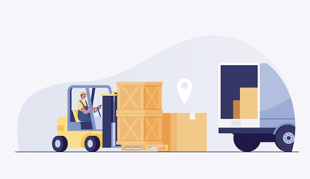 Worker driver at warehouse forklift loader works and dip boxes into a truck. vector illustration