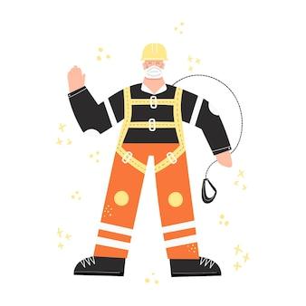 코로나 19 대유행 중 작업자가 높이에서 일할 준비가되었습니다. 직장에서의 건강과 안전. ppe