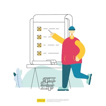 Worker employee do task list organization on board. business checklist plan management with businessman character. questionnaire survey concept vector illustration with flat style