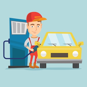Worker filling up fuel into car at the gas station