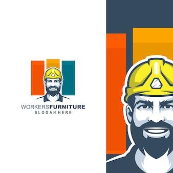 テンプレートの労働者の家具のロゴ
