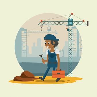 労働者の幾何学的な漫画