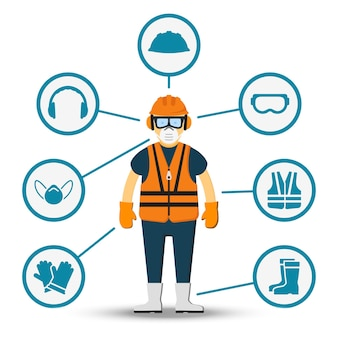 Worker health and safety. illustration of accessories for protection