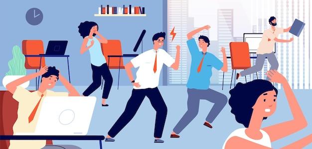 Рабочий в панике в офисе