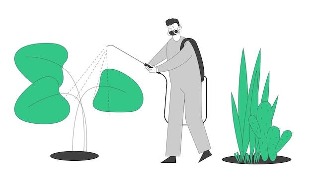 온실에서 비료를 살포하는 보호 복 작업자