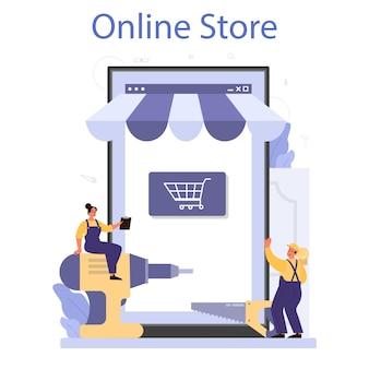 Работник в униформе устанавливает онлайн-сервис или платформу окон и дверей.