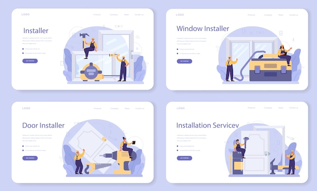 균일 한 설치 창 및 문 웹 배너 또는 방문 페이지 세트의 작업자