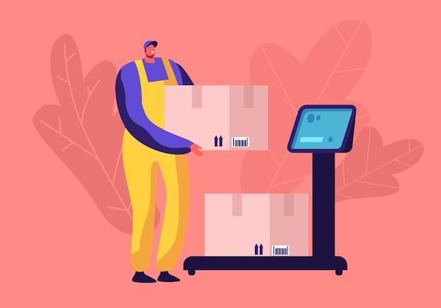 Работник склада кладет картонную коробку для посылок на напольные весы для взвешивания. мультфильм плоский иллюстрация