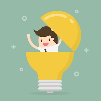 Worker inside light bulb