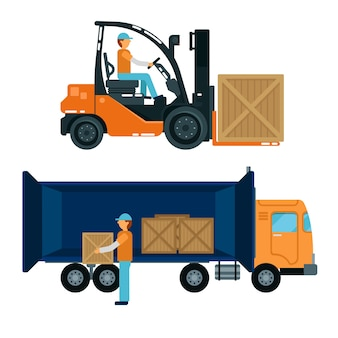 Worker loading containers into the truck