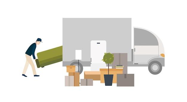 Рабочий загружает вещи для перевозки. переезд в новый дом. иллюстрации шаржа в плоском стиле.