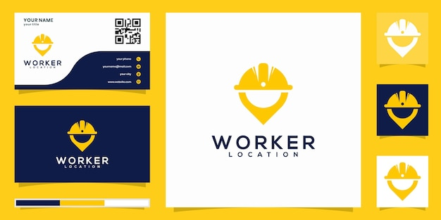 Worker logo and business card concept
