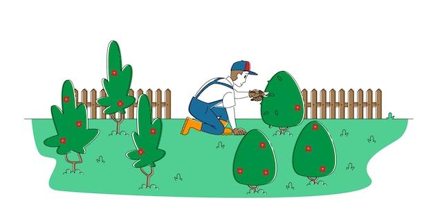 庭でブッシュをトリミングする労働者の男性キャラクター