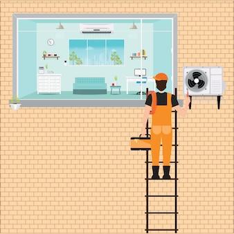 Работник человек поднимается по лестнице для ремонта кондиционера