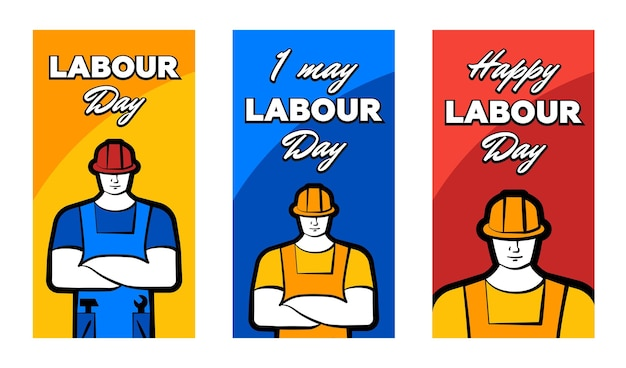 Worker man in construction helmet and inscription happy labour day may greeting card set poster or
