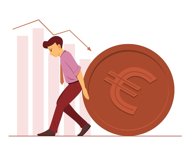 Worker man push a big coin of euro currency and the bar charts