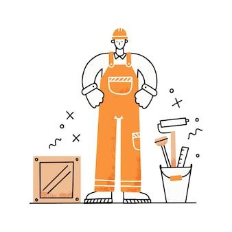 Рабочий человек с профессиональной формой и инструментами