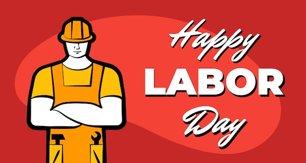 Worker man in yellow construction helmet and inscription happy labor day may professional labour