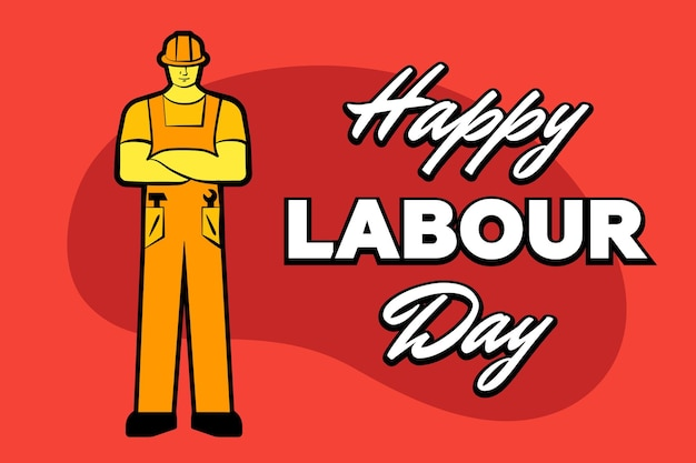 Worker man in yellow construction helmet and inscription happy labour day may greeting card poster