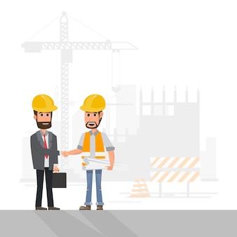 Работник управляет проектом на стройплощадке