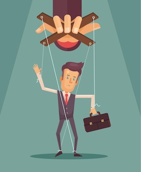 Worker marionette on ropes controlled boss hand flat illustration