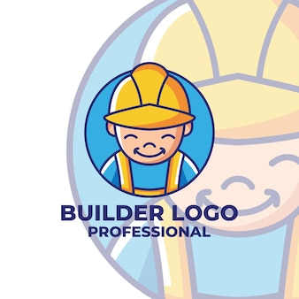 Worker mascot cartoon logo templates