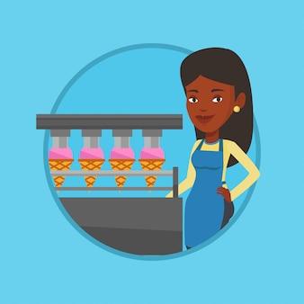 アイスクリームを生産する工場の労働者。