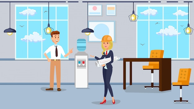 Worker office interior design vector illustration.