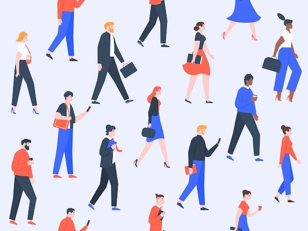 労働者の人々のパターン。オフィスのキャラクターとビジネスの人々は、ウォーキング、現代の労働者チームのコンセプトをグループ化します。男性と女性がシームレスなイラストを仕事に行く