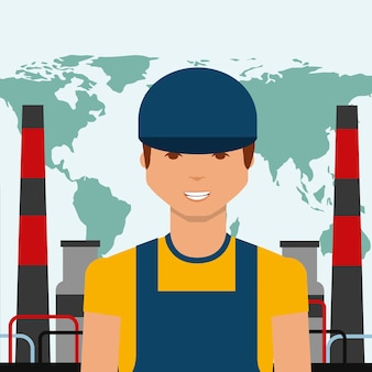 Worker portrait chemical plant world oil industry