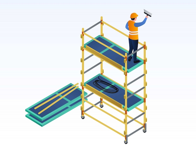 Worker putty on scaffold illustration, isometric style