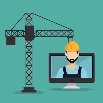 Рабочий под строительство с рабочим столом