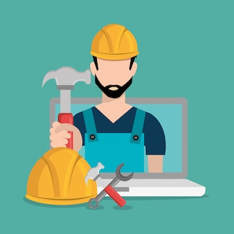 ノートパソコンの建設中の労働者