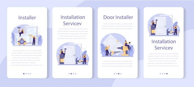 Worker in uniform install window and door mobile application banner set