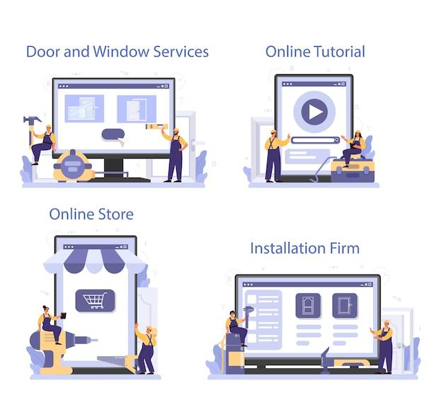 Worker in uniform install window and door online service or platform set