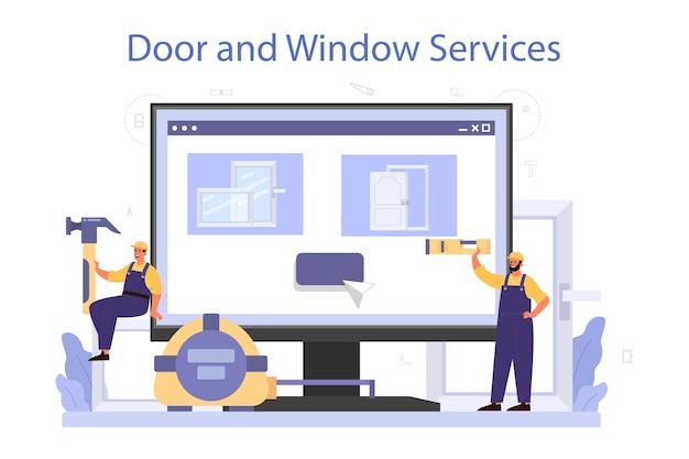 Worker in uniform install window and door online service or platform