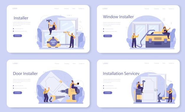Worker in uniform install window and door web banner or landing page set